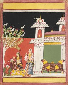 AN ILLUSTRATION TO A RAGAMALA SERIES: MALASRI RAGINI. Opaque watercolor heightened with gold on paper, India, Madhya Pradesh, Malwa, ca. 1650
