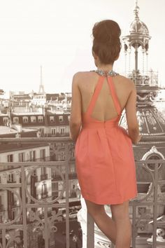 pretty back, bun, and paris / dress by Raoul