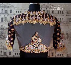 Drape Sarees, Work Sarees, Saree Blouse Neck Designs, Bridal Blouse Designs, Peacock Shoes, Maggam Work Designs, Coin Design, Stylish Blouse Design, Kurti Designs Party Wear