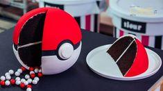 Take a slice out of Pokémon GO! Rich chocolate cake and Italian meringue buttercream hide beneath bright Poké Ball fondant. Gotta cake 'em all! Pokemon Birthday Cake, Pokemon Party, Pokemon Cakes, 8th Birthday, Gf Cake Recipe, Restaurant Drinks, Cake Templates, Gingerbread Cake, Caking It Up