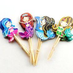 mermaid cupcake toppers  mermaid birthday party ideas, 1st birthday, first birthday party, girl party