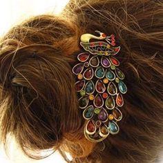 Amazon.com: Lovely Vintage Jewelry Crystal Peacock Hair Clip: Beauty