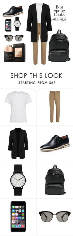 """Man style (spring)"" by zahra2000 ❤ liked on Polyvore featuring La Perla, Joseph, Skagen, Yves Saint Laurent, Off-White, Gucci, Bulgari, H&M, men's fashion and menswear"