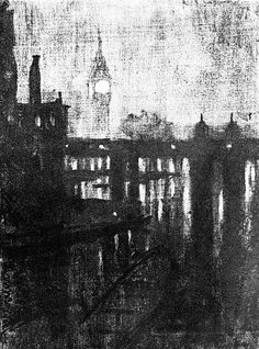 Joseph Pennell, Clock Tower, Night, c. 1908. Charcoal on paper, 28.4 x 20.9 cm. Library of Congress, Washington, D.C.