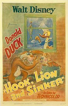 Disney Cartoon short movie poster Donald Duck Hook, Lion & Sinker