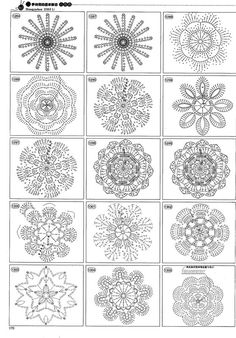 Tina's handicraft : 71 patterns for crochet flowersAmazing Collection of Crochet Flowers.Beautiful and more crochet pattern ~ make handmade - handmade - handicraft Crochet Diy, Crochet Flower Tutorial, Thread Crochet, Crochet Doilies, Crochet Flowers, Crochet Stitches, Irish Crochet, Crochet Motif Patterns, Crochet Diagram