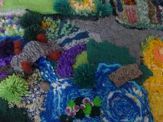 My knitted farm mat the lake stream bridge and jetty with water lillies