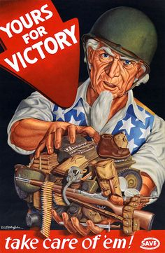 "From WWII and the U.S. Army Conservation Program, ""Yours for Victory. Take care of 'em."" Ernest Hamlin Baker."
