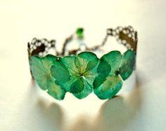 Real plant bracelet Green gift for her, Nature bracelet gift floral women jewelry, bangle green gift, romantic flower gift for Birthday Boho