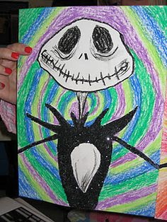 Nightmare Before Christmas. Students will draw a closeup of Jack Skellington. In addition students will be able to create a background with movement using only cool or warm colors.