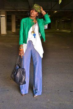 STYLEPANTRY: green cropped leather jacket/ white oversized top/ wide legged denim pants