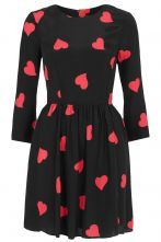 #SheInside Black Half Sleeve Heart Print Short Dress