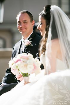 Groom looking at his bride during their wedding ceremony in Atlanta