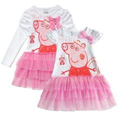 Peppa Pig Girl Kid Costume One Piece Top Dress Tutu Tulle Skirt Bowknot Sz 18M 6 | eBay