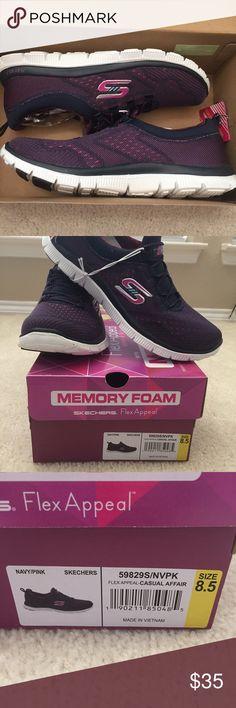 NIB Skechers Memory Foam Flex Appeal Pink and Navy slip on sneakers. Never worn. Box included. Skechers Shoes Sneakers