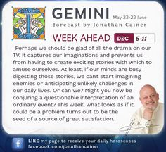 ♊ ‪#‎Gemini‬ - Weekly forecast for Dec 5-11th 2015 from Jonathan Cainer. Click the image above to read your forecast for today! #Horoscope #Zodiac #Astrology
