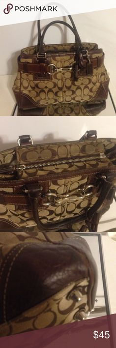 "COACH 12297 BROWN JAQCUARD LEATHER PURSE AUTHENTIC This handbag has been well-loved. It is need of a good cleaning - interior and exterior. I haven't found anyone local that cleans Coach purses 😩unfortunately.  There is wear on the corners - please see pic. COLOR: Beige / Brown DIMENSIONS:  12"" (L) 7.5"" (H)  4.5"" (D). Leather and Jaqcuard signature ""C"". EXTERIOR FEATURES Silver Tone Hardware Zip Top Closure. The bag has leather handles With 7"" Drop.  Brown belt and a tassel straps/ Hang Tag…"