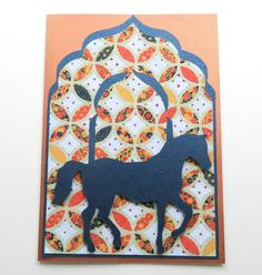 Handmade Card/ Birthday Card/ All Occasion Card - With Blue Horse on Moroccan Theme Paper by SilverGlowDesigns on Etsy