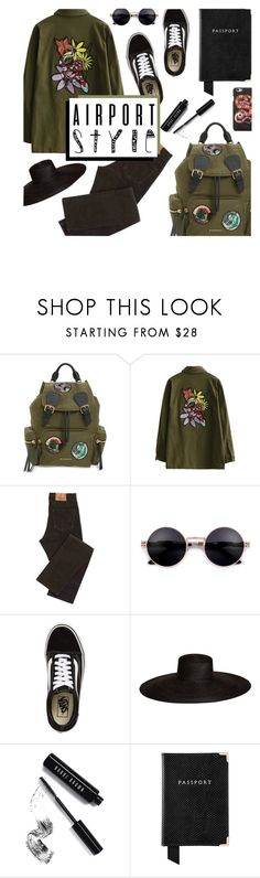 """""""Airport Style"""" by virginia-laurie ❤ liked on Polyvore featuring Burberry, Vans, Samuji, Bobbi Brown Cosmetics, Aspinal of London and Gucci"""
