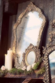 Love these vintage/antique mirrors