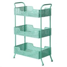 Perforated Metal Trolley (mint) from Lark! Industrial Shelving Units, Metal Cart, Pastel Room, Perforated Metal, Metal Drawers, Home Office Furniture, Furniture Ideas, Wooden Shelves, Storage Solutions