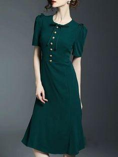 Short Sleeve Elegant Buttoned A-line Midi Dress Best Prom Dresses, Dresses For Sale, Formal Dresses, Dresser, Business Dresses, Swing Dress, Designer Dresses, Evening Dresses, Fashion Dresses