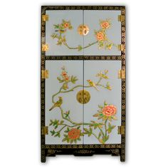 "43"" Oriental Blue and Black Lacquer Side Cabinet with Hand Painting"