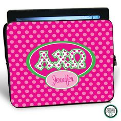 Alpha Chi Omega Letters on Dots iPad Sleeve. Personalize it by adding your name.