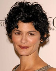 Audrey Tautou. Rounded, wavy pixie cut