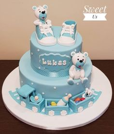 Christening cake - cake by Gabriela Doroghy - CakesDecor Baby Boy Christening Cake, Baby Boy Birthday Cake, Baby Boy Cakes, First Birthday Cakes, Cakes For Boys, Torta Baby Shower, Gateau Baby Shower Garcon, Rodjendanske Torte, Baby Shower Balloons