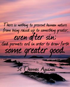 There is nothing to prevent human nature from being raised up to something greater, even after sin; God permits evil in order to draw forth some greater good.   St Thomas Aquinas