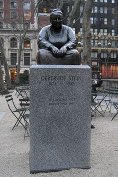 Wally Gobetz -- NYC - Bryant Park: Gertrude Stein statue - One of five sculptures in Bryant Park, this statue honors the trailblazing American author and arts patron Gertrude Stein Most Famous Quotes, I Love Nyc, Bryant Park, My Kind Of Town, Concrete Jungle, Las Vegas, New York Public Library, Beautiful Places To Visit, Women In History