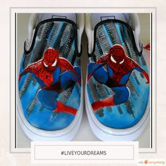 You can live your dreams in custom Spiderman Shoes from PricklyPaw.  www.etsy.com/listing/262741036