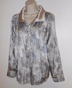 Chico's Synergy 1 8 M Jacket Raincoat Reversible Reptile Gray Beige  #Chicos #Raincoat