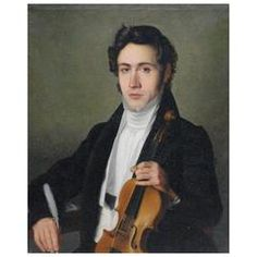 Oil Canvas Portrait Painting Niccolò Paganini with Violin, 1800
