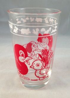 Swanky Swig Animal Juice Glass Red Vintage