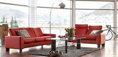 ekornes stressless space sofa and loveseat low back large