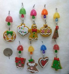 9 Mini Gingerbread Cookie Gumdrop Candy Icicle Christmas Tree Ornaments