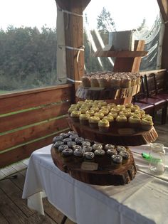Hand made wooden cake stand.