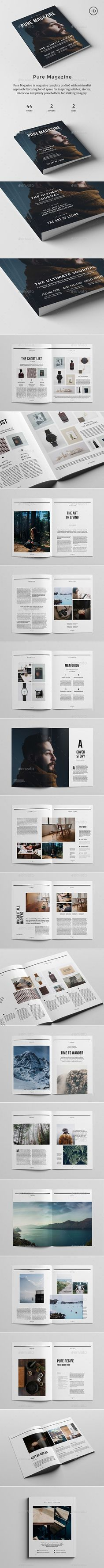 Pure Magazine is 44 pages magazine template with two cover options. It is crafted with minimalist approach and features a lot of space for inspiring articles, stories, interview and plenty placeholders for striking imagery.
