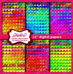 Colorful digital paper Digital Paper Hearts 12x12 paper Valentine Scrapbook Valentine digital paper Digital papers pack gift wrap by StudioDprint