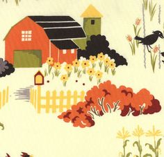 1/4m MODA FARMYARD CREAM FARM SCENE COTTON FABRIC 1547 | eBay