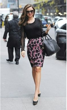 461675bfb36b Miranda Kerr in a Balenciaga skirt and Lanvin heels