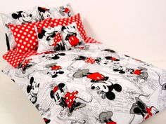 Mickey Minnie Mouse Barbie Doll Bedding Set  by ElleLaLaBoutique