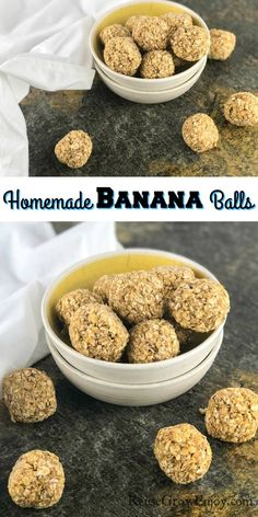 Looking for a more healthy snack option but sick of the same old thing? Try these homemade banana balls! They are super easy and so good! Yummy Snacks, Yummy Treats, Yummy Food, Healthy Snack Options, Healthy Snacks, Appetizer Recipes, Snack Recipes, Most Delicious Recipe, Healthy Family Meals