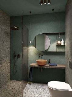 green bathroom green wall, small bathroom remodel ideas, stone tiled floor and wall, glass shower door, floating wooden shelf Bathroom Design Inspiration, Bad Inspiration, Modern Bathroom Design, Bathroom Interior Design, Bathroom Designs, Design Ideas, Modern Design, Natural Bathroom, Bathroom Green