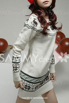 ae94dd8814e6 Buy Deer Printing Long Sleeve Slim Jumper Sweater at Geek - Smarter Shopping