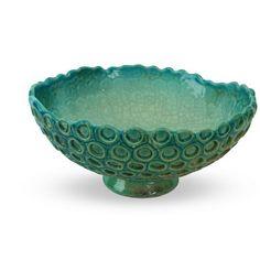 Centrotavola blu acqua in ceramica lavorazione raku - Liberati
