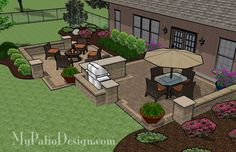 Patio with Outdoor Bar and Seat Wall | Outdoor Fireplaces & Fire Pits