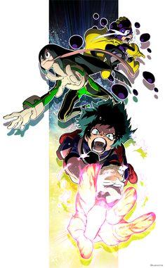 Boku no Hero Academia || Mineta Minoru, Tsuyu Asui, Midoriya Izuku.